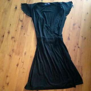 Sz 10 Black Cotton Wrap Dress