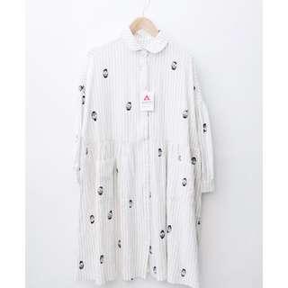 🚚 日本 merlot 印花米色條紋棉麻洋裝 古著
