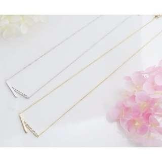 ForPrincess 韓國飾品簡約鑲鑽線條短鍊項鍊