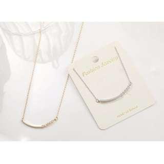 ForPrincess 韓國飾品微笑線半邊鑽石項鍊