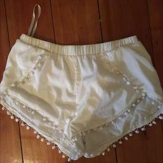 White Pom Pom Shorts