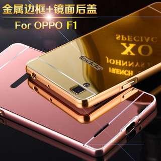 🚚 OPPO F1 金屬邊框 鏡面後蓋 OPPO A35 保護套 推拉式 F1手機殼 外殼