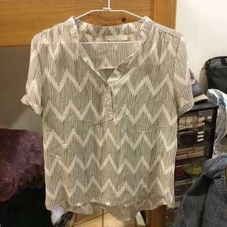 亨利領/V領 圖騰短袖襯衫