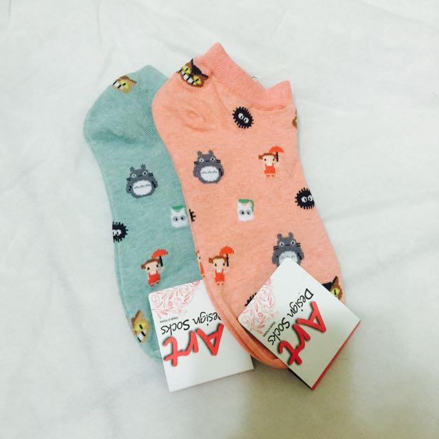 單雙-龍貓滿版短襪 橘色