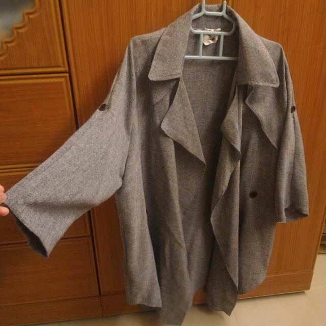 全新正韓灰色氣質風衣