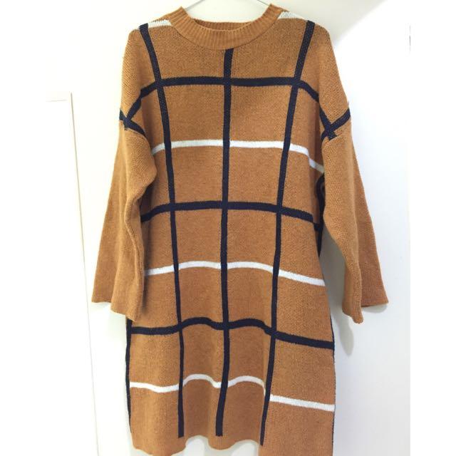 針織長版毛衣