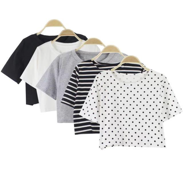 (含運)胖瘦皆可穿!韓國修身緊身/寬鬆短版短袖上衣