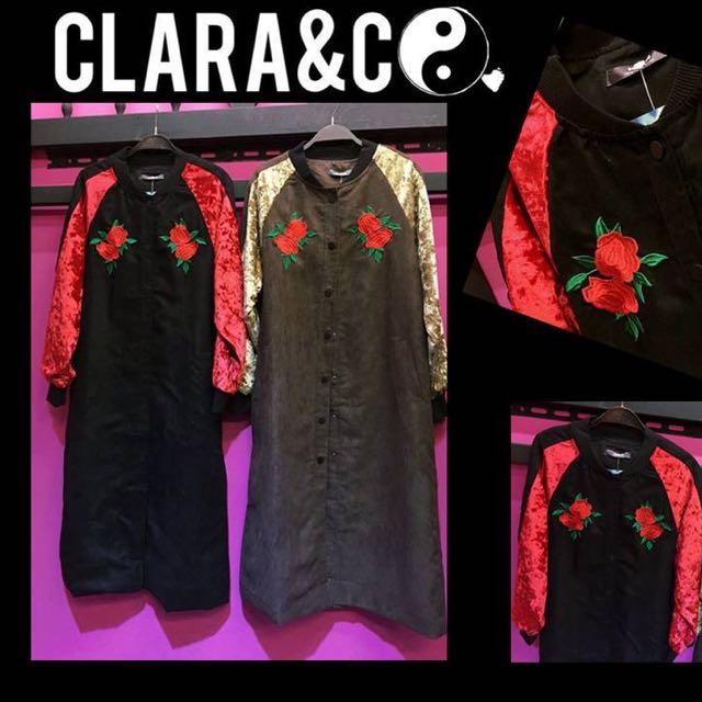 黑紅配色長版外套