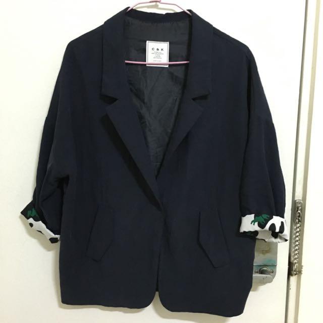 拼接深藍繭形西裝外套