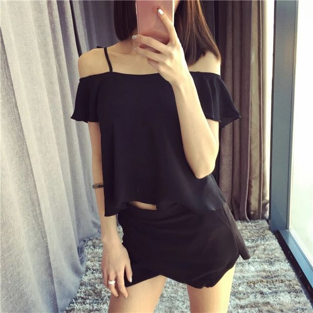 西裝材質顯瘦褲裙