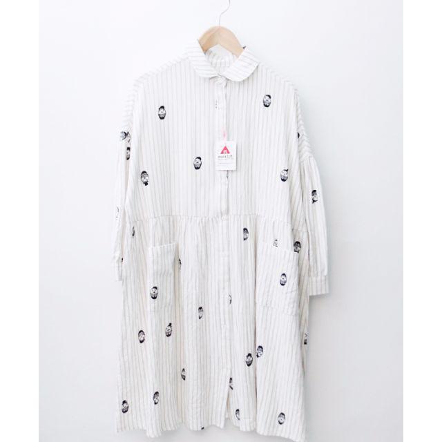 日本 merlot 印花米色條紋棉麻洋裝 古著