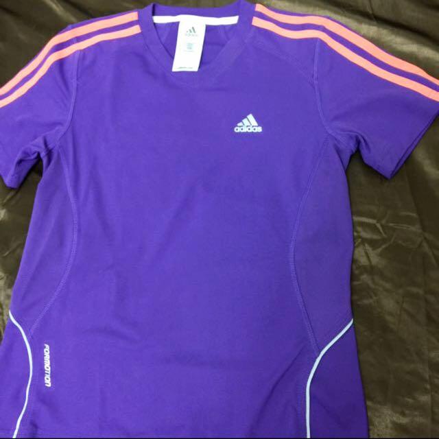 Adidas 排汗運動衣S 紫 跑步 瑜珈