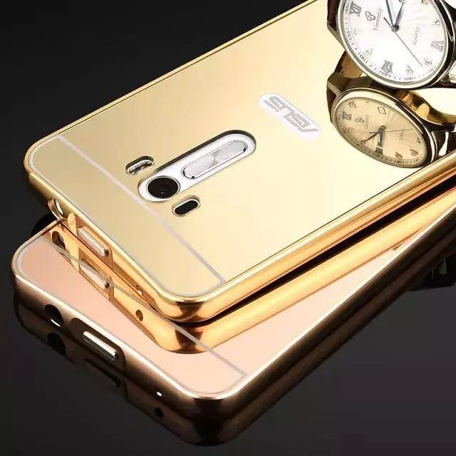 華碩Asus Zenfone Selfie ZD551KL 金屬邊框 鏡面後蓋 保護套 推拉式 手機殼 外殼