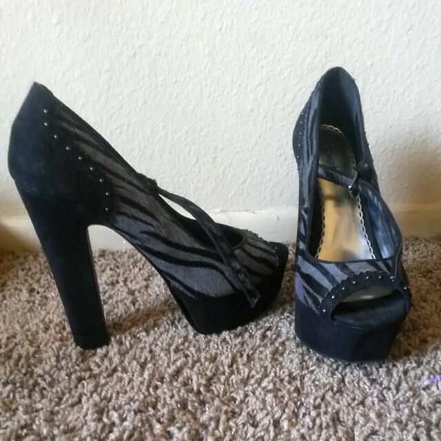 Bebe Zebra Print Heels