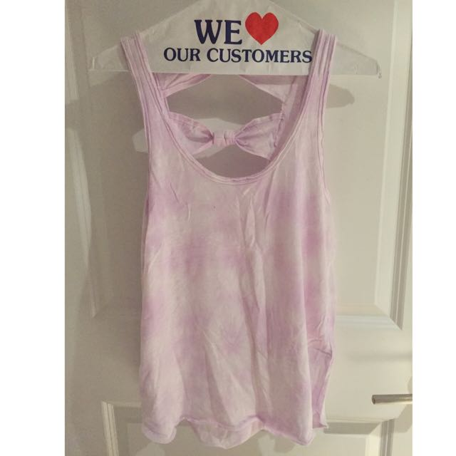 Bleached Purple Top With Bows