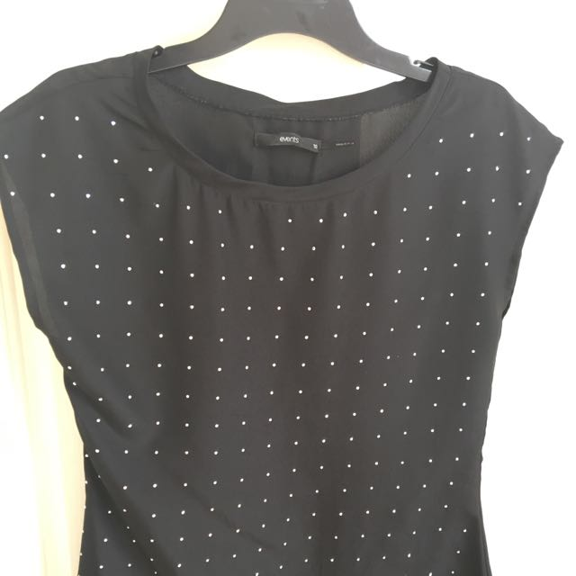 Blk Top With Sequin Poka Dots Size 10