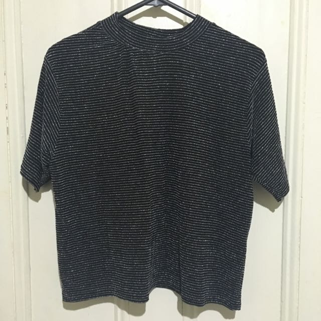 Cropped Sparkle High Neck Loose Shirt
