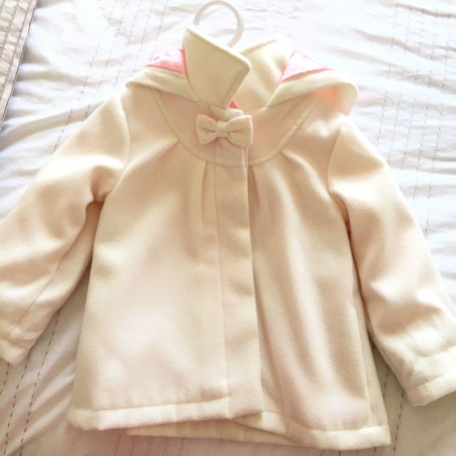 Ivory Hooded Girls Coat Size 2yrs