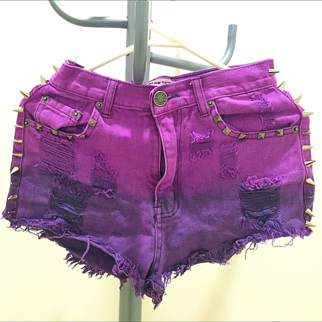Lucy In The Sky Deep-dyed Purple Shorts