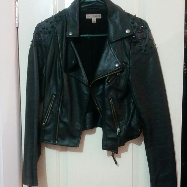 Lulu & Rose Studded Faux Leather Jacket Size S