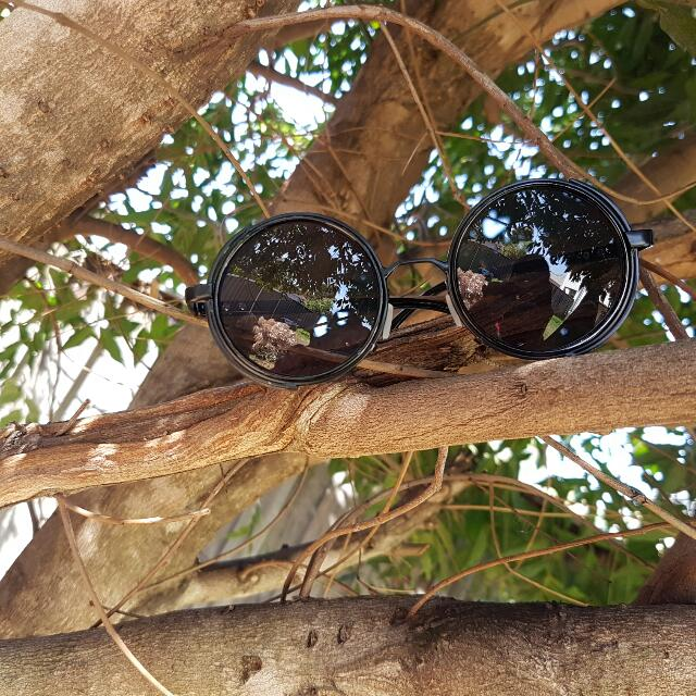 STEAMPUNK × SNRGY UNISEX SUNGLASSES IN CHROME / BLACK ON BLACK