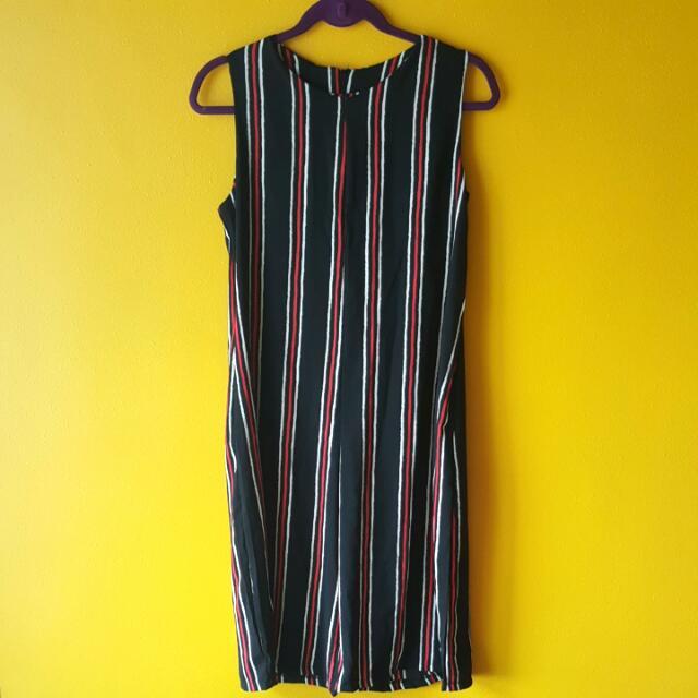 Striped Culotte Jumpsuit - Brand New