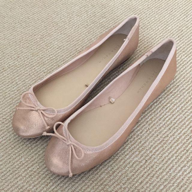 Zara Woman Metallic Rose Ballet Flats Size 40