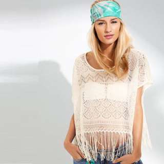 Topshop Crochet Fringe Crop Top (Cream)