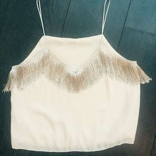 Crop Gold Shimmer Fringe Trim Spagetti Strap Top - Size Small