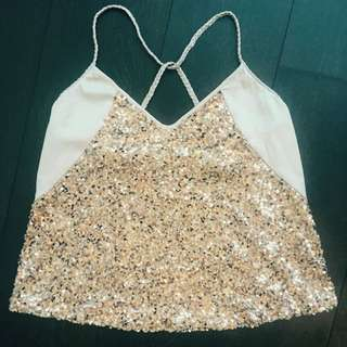 Size M Baby Pink Sequinned Jaspal Top