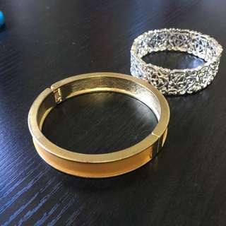 Mustard/ Gold Bangle And Silver Bracelet