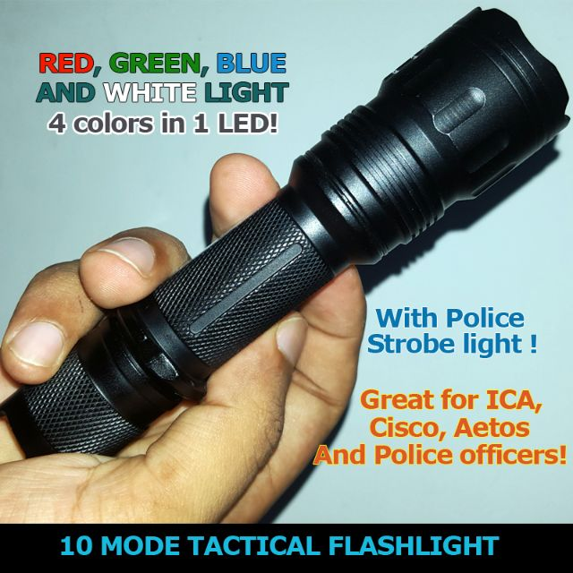 Splitter nya 10 Mode Tactical Flashlight ( Multi Color LED Flashlight) for OE-02