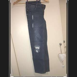 Tempt Blue Denim Jeans with White rips - Size 12
