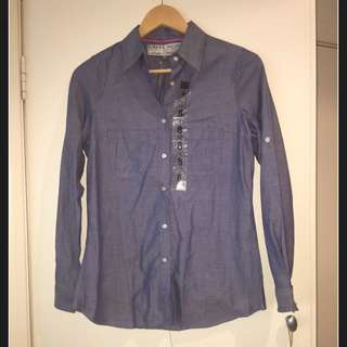 Brand New Rivers Chambray Blue Cotton Shirt - Regular fit Size 8 (fit Size 10)