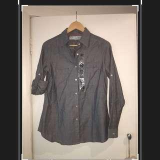 River Black Cotton Chambray Shirt - Size 10 Regular Fit