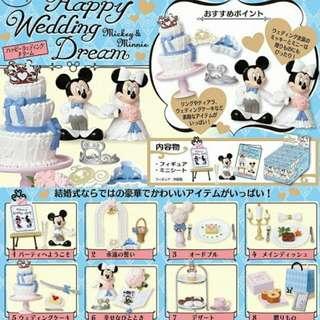 食玩 盒玩 幾近全新 迪士尼 米奇 米妮 婚禮 派對 食玩 八入組 完整無缺件 免運費