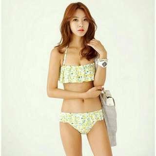 📣新款 韓版 夏日小芒果 荷葉邊 清新 甜美 兩件式 比基尼 泳衣