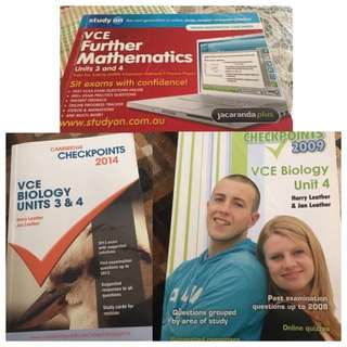 Study On/ Checkpoint Textbooks For VCE Maths And Biology