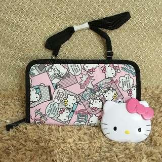 2件組全新✨Hello Kitty手拿/長夾包+隨身雙面鏡