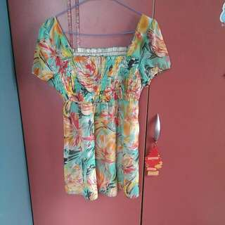 NET 花卉長版上衣/洋裝