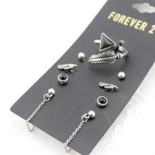 Forever21三角葉子石頭造型耳環耳針戒指組