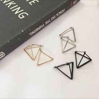 🉐️ 立體造型三角形耳針-共三色