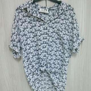 斑馬圖騰雪紡襯衫