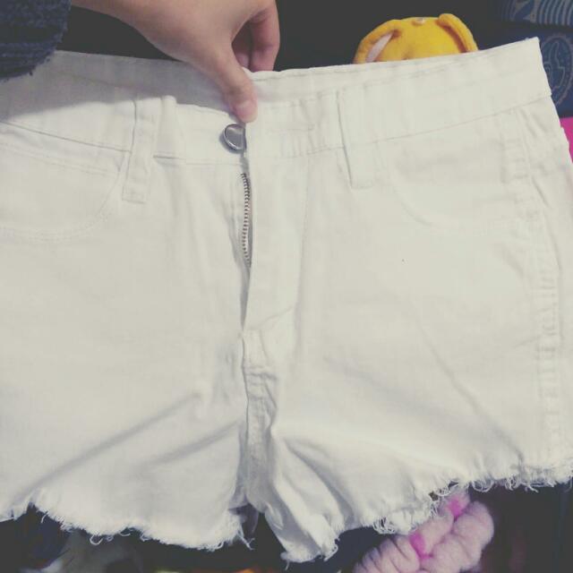 白色高腰毛邊牛仔褲💓