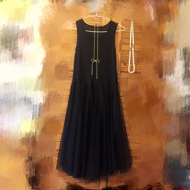 全新流行背心紗裙 黑色
