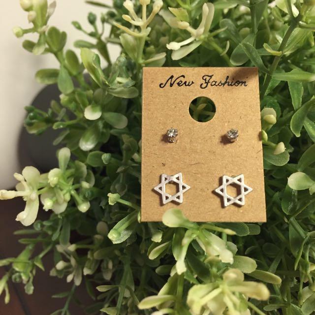 霧面銀 金屬星星耳環
