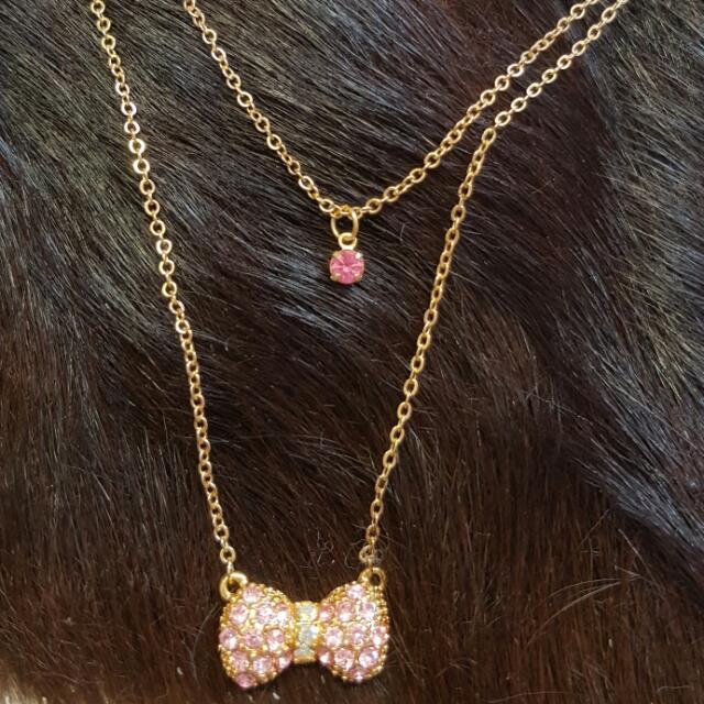 雙鍊 粉紅蝴蝶結項鍊 購於日本
