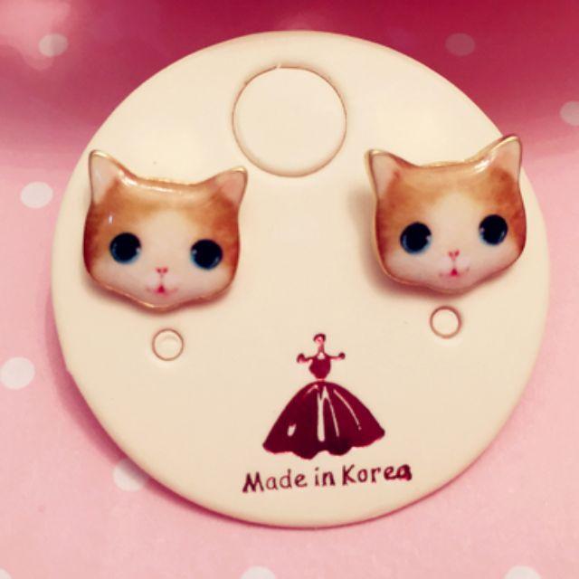 可愛貓咪耳針  質感耳環