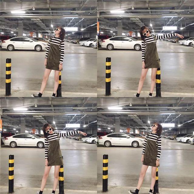 🔺韓版 墨綠吊帶裙🔺