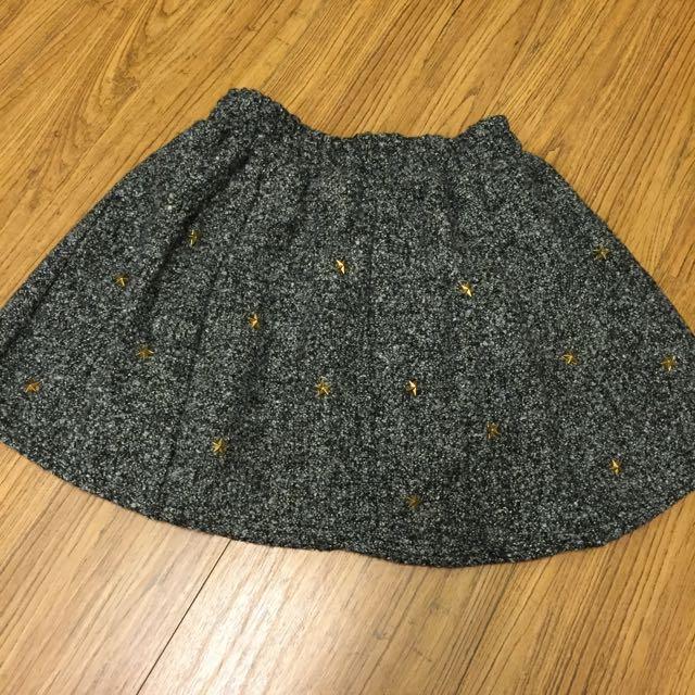 秋冬款 厚毛 星星短裙